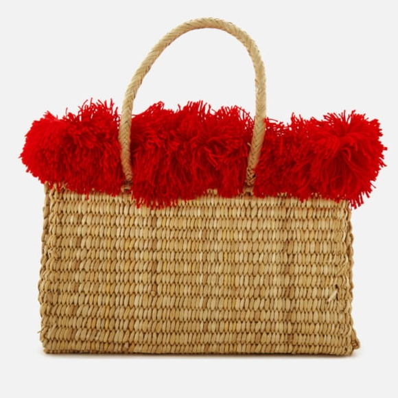 nannacay Handbags - NWT Nannacay Straw Bag with Red Fringe Trim
